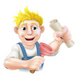 plumber or janitor with certificate vector image vector image