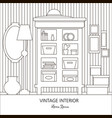 room with cupboard mirror lamp vase and vector image