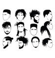 set afro hairstyles for men collection of vector image vector image