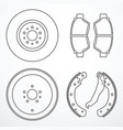 set of brake parts vector image vector image