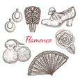 set of flamenco accessories vector image
