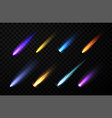 set of neon space falling down comets meteorites vector image
