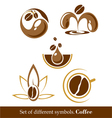set of signs and symbols of coffee vector image