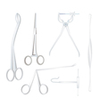 Set of Surgical Instruments on White Background vector image vector image