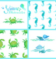 Set of watercolour marine seamless patterns page vector image vector image