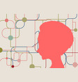 silhouette of a womans head vector image vector image