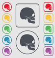 Skull icon sign symbol on the Round and square