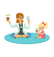 teacher and little girl sitting on the floor and vector image vector image