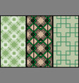 three abstract green patterns lace ornate and vector image vector image