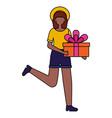 woman holding gift box birthday celebration vector image vector image