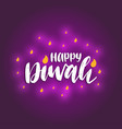 diwali festival poster with hand lettering vector image