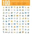 Set of 100 Minimal Universal Line Icons Business vector image