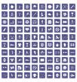 100 sport equipment icons set grunge sapphire vector image vector image