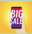 big sale on mobile in hand vector image vector image