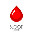 blood icon red flat drop symbol vector image vector image