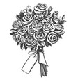 bouquet roses greeting card hand drawn vector image vector image
