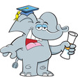 Cartoon elephant holding a diploma vector image vector image