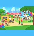 cartoon street food festival with people vector image vector image