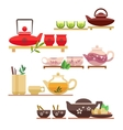 Chinese tea ceremony flat icons vector image vector image
