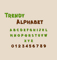 comic trendy font and alphabet abstract and vector image