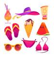 cute summer stickers for girls cartoon set vector image