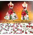 dress with an trendy rose design vector image vector image