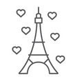 eiffel tower thin line icon france and paris vector image vector image