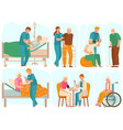 elderly people in nursing home medical staff vector image