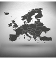 Europe map with the shadow on gray background vector image