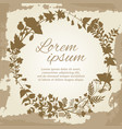 floral and herbal wreath silhouette on vintage vector image vector image