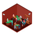gambling casino room with people isometric vector image vector image