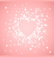 heart shape confetti splash with pink heart frame vector image vector image