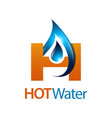 hot water drop initial letter h logo concept vector image