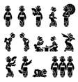 japan geisha or maiko characters icons sign and vector image