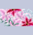 lily flowers watercolor banner beautiful vector image