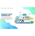 manage your workflow website landing page vector image vector image