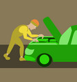 mechanic repairs car motor vector image vector image