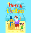 merry christmas santa claus making photo snowman vector image vector image