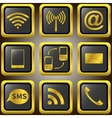 Mobile phone golden icons vector image vector image