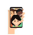 modern smartphone with friends image on screen vector image vector image