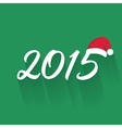 New Year 2015 text with christmas hat vector image