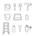 Painter Tools Objects Outline Icons Set vector image vector image
