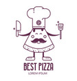 pizza chef in cooking hat vector image vector image