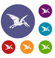 pterosaurs dinosaur icons set vector image vector image