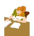 Retro hipster girl working with papers vector image vector image