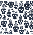 seamless pattern with monochrome skulls with vector image vector image