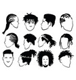 set afro hairstyles for men collection of vector image