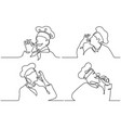 set cook making tasty delicious gesture vector image