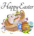 set easter chocolate egg hunt bunny basket on vector image vector image