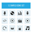 set of 12 editable song icons includes symbols vector image vector image